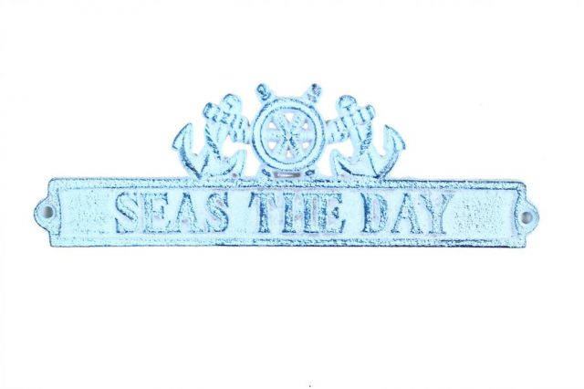 Dark Blue Whitewashed Cast Iron Seas the Day Sign with Ship Wheel and Anchors 9
