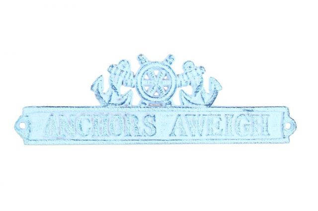 Dark Blue Whitewashed Cast Iron Anchors Aweigh Sign with Ship Wheel and Anchors 9