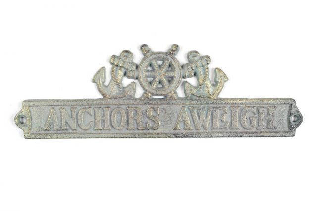 Antique Bronze Cast Iron Anchors Aweigh Sign with Ship Wheel and Anchors 9