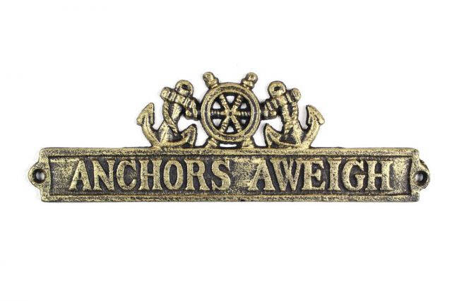 Antique Gold Cast Iron Anchors Aweigh Sign with Ship Wheel and Anchors 9
