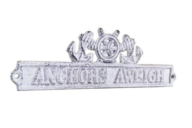 Whitewashed Cast Iron Anchors Aweigh Sign with Ship Wheel and Anchors 9