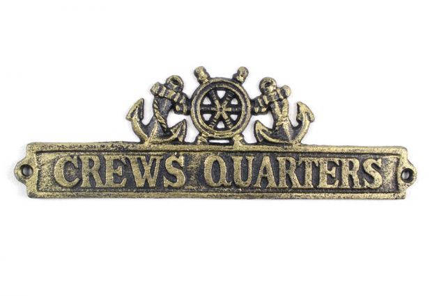 Antique Gold Cast Iron Crews Quarters Sign with Ship Wheel and Anchors 9
