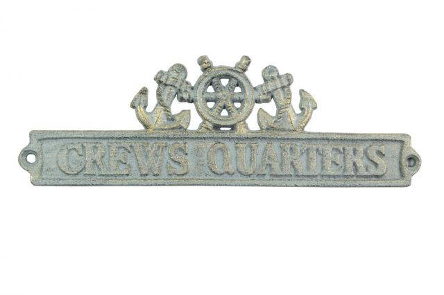 Antique Bronze Cast Iron Crews Quarters Sign with Ship Wheel and Anchors 9