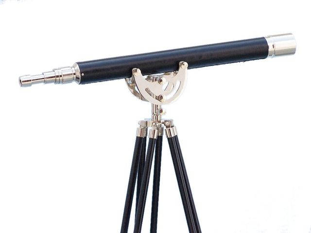 Floor Standing Chrome-Leather Anchormaster Telescope 50