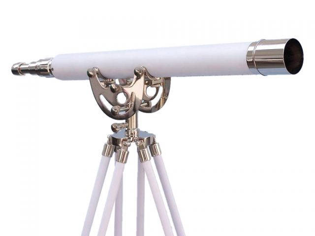 Floor Standing Chrome With White Leather Anchormaster Telescope 50