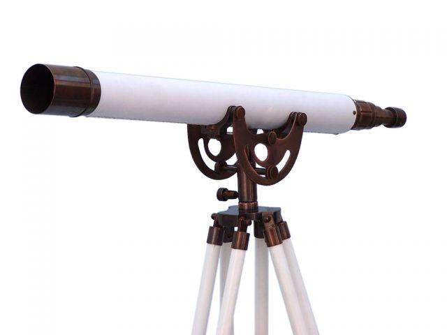 Floor Standing Antique Copper With White Leather Anchormaster Telescope 50