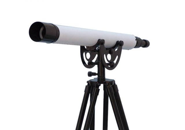 Floor Standing Oil-Rubbed Bronze-White Leather With Black Stand Anchormaster Telescope 50