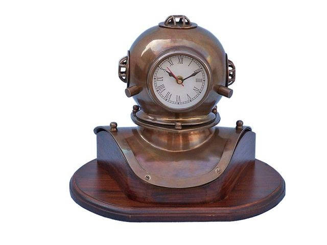Antique Brass Decorative Divers Helmet Clock on Rosewood Base 12