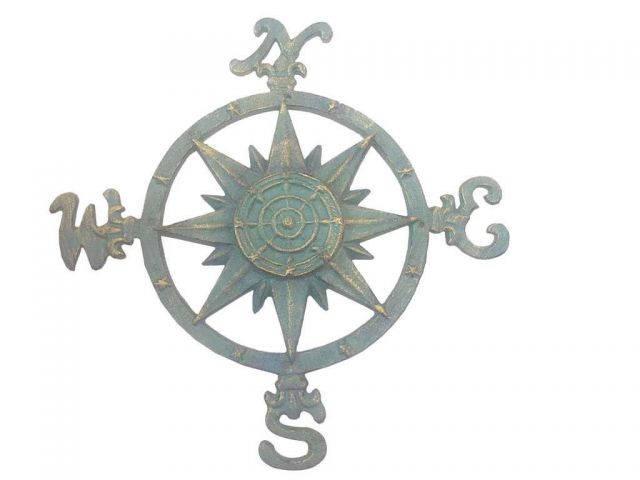 Seaworn Bronze Cast Iron Large Decorative Rose Compass 19