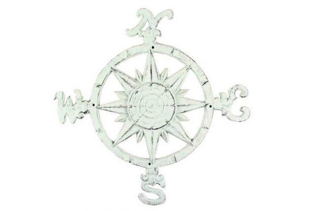 Rustic Whitewashed Cast Iron Large Decorative Rose Compass 19