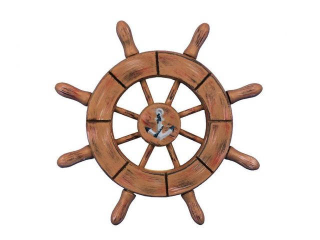 Rustic Wood Finish Decorative Ship Wheel With Anchor 6