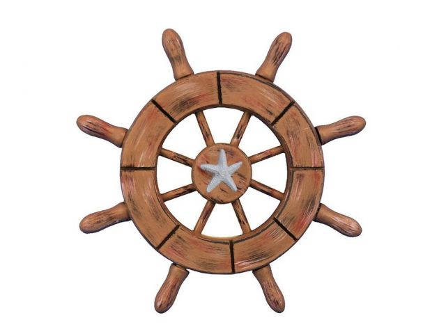 Rustic Wood Finish Decorative Ship Wheel With Starfish 6