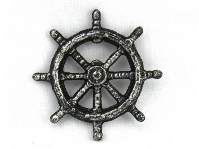 Antique Silver Cast Iron Ship Wheel Bottle Opener 3.75