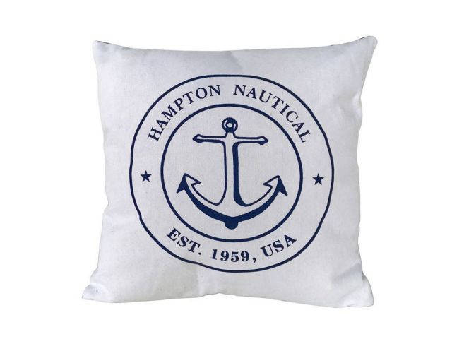 Decorative White Hampton Nautical with Anchor Throw Pillow 16