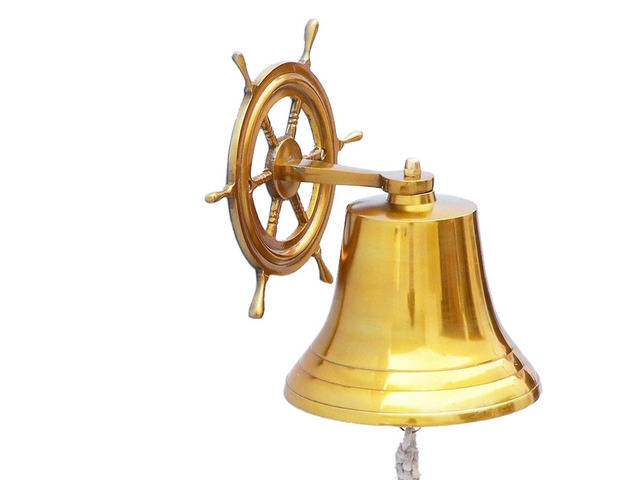 Brass  Plated Hanging Ship Wheel Bell 10