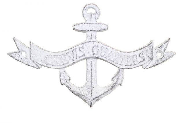 Whitewashed Cast Iron Crews Quarters Anchor Sign 8