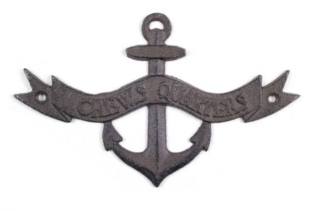 Cast Iron Crews Quarters Anchor Sign 8