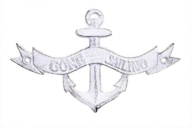 Whitewashed Cast Iron Gone Sailing Anchor Sign 8