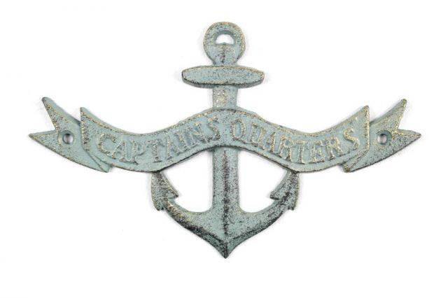 Antique Bronze Cast Iron Anchor Captains Quarters Sign 8