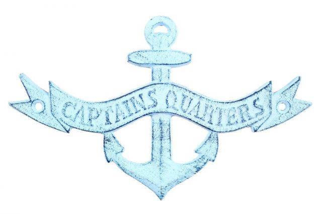 Dark Blue Whitewashed Cast Iron Anchor Captains Quarters Sign 8