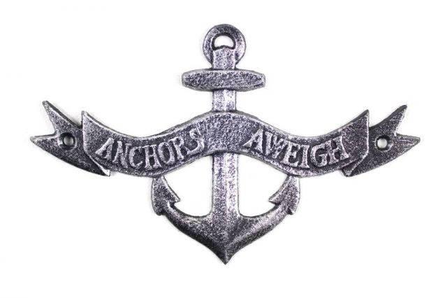 Antique Silver Cast Iron Anchors Aweigh Anchor Sign 8