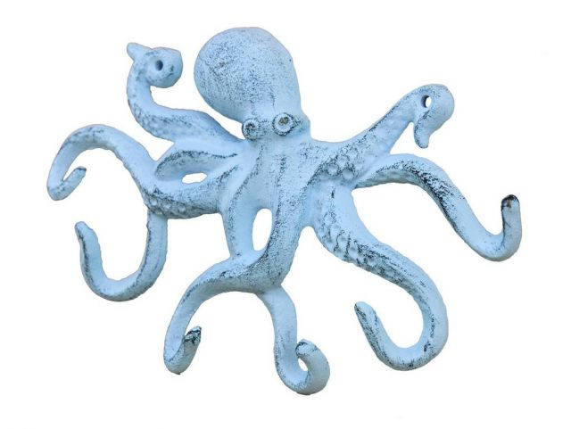Rustic Dark Blue Whitewashed Cast Iron Octopus Hook 11