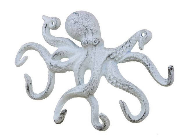 Rustic Whitewashed Cast Iron Octopus Hook 11