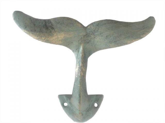 Antique Bronze Cast Iron Decorative Whale Tail Hook 5