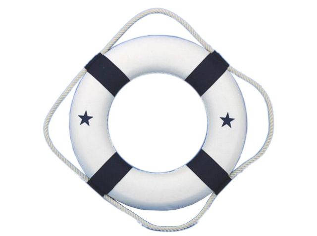 White Lifering with Blue Bands Christmas Tree Ornament 6