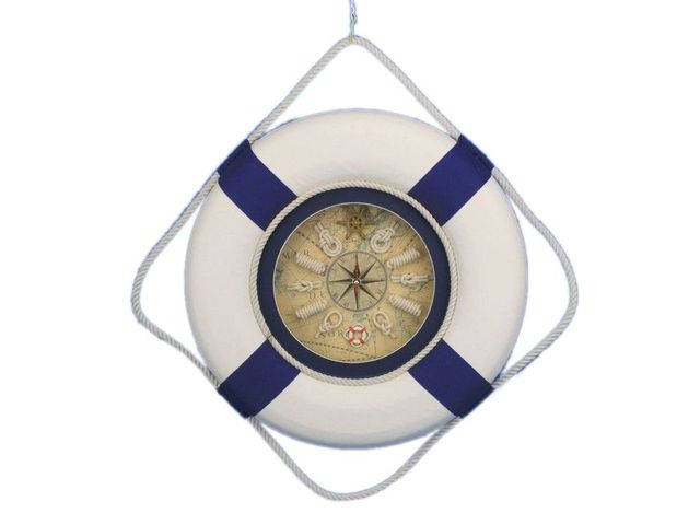 Classic White Decorative Lifering Clock with Blue Bands 18