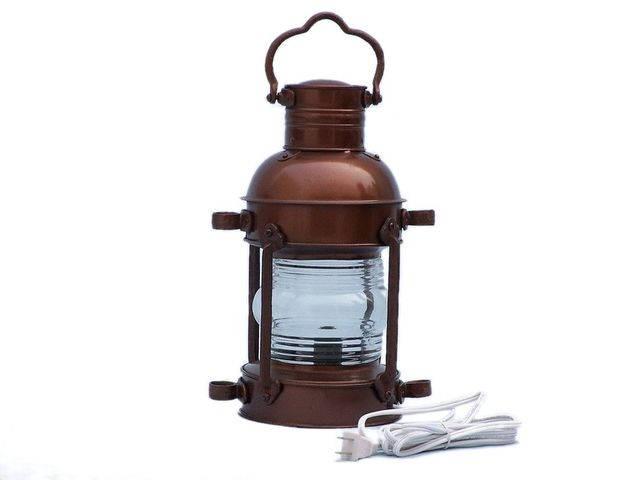 Antique Copper Anchor Electric Lantern 15