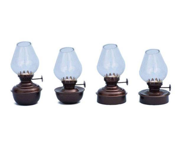 Antique Copper Table Oil Lamp 5 - Set of 4