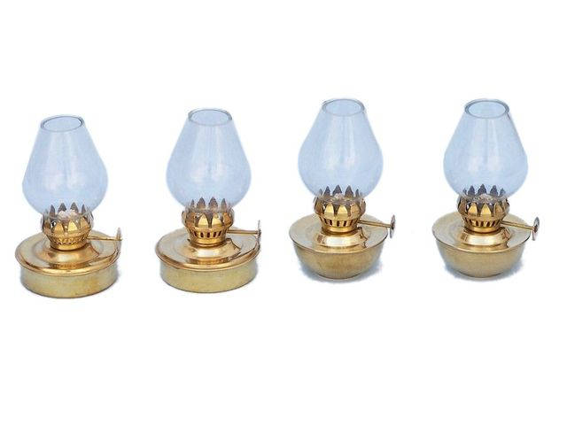 Solid Brass Table Oil Lamp 5 - Set of 4