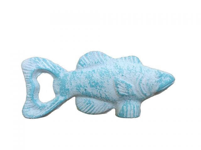 Rustic Light Blue Whitewashed Fish Bottle Opener 5