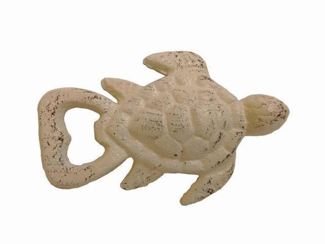 Aged White Cast Iron Turtle Bottle Opener 4.5