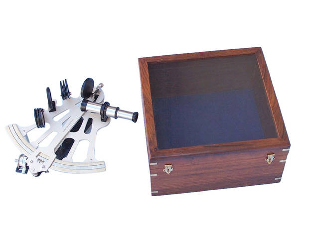 Black - White Sextant and Micrometer with Rosewood Box 11