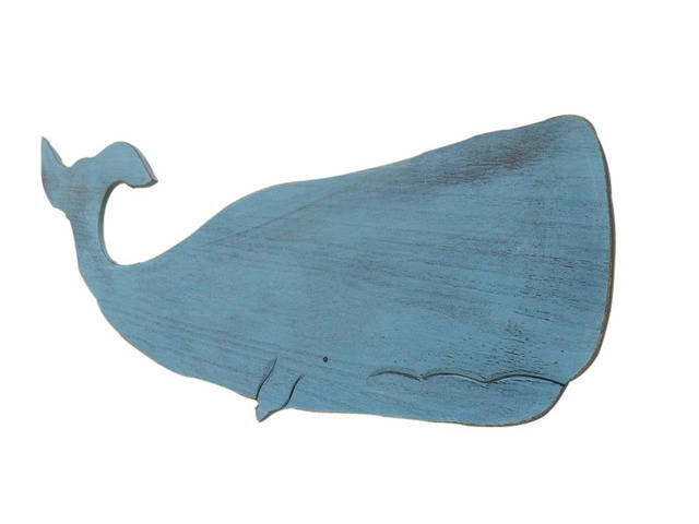 Wooden Rustic Ocean Blue Wall Mounted Whale Decoration 40