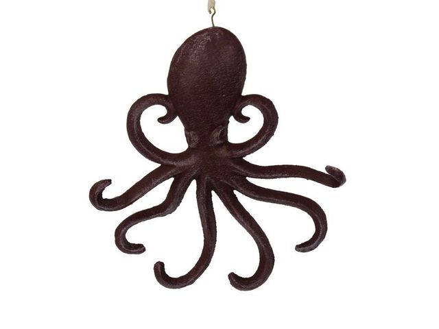 Rustic Red Cast Iron Wall Mounted Octopus Hooks 7