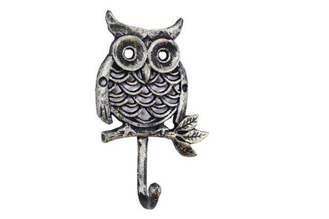 Rustic Silver Cast Iron Owl Hook 6