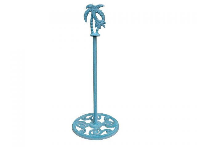 Rustic Light Blue Whitewashed Cast Iron Palm Tree Extra Toilet Paper Stand 17