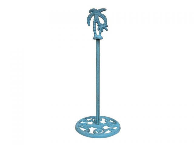 Rustic Light Blue Cast Iron Palm Tree Extra Toilet Paper Stand 17
