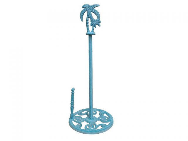 Rustic Light Blue Whitewashed Cast Iron Palm Tree Paper Towel Holder 17