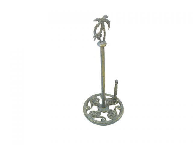 Antique Seaworn Bronze Cast Iron Palm Tree Paper Towel Holder 17