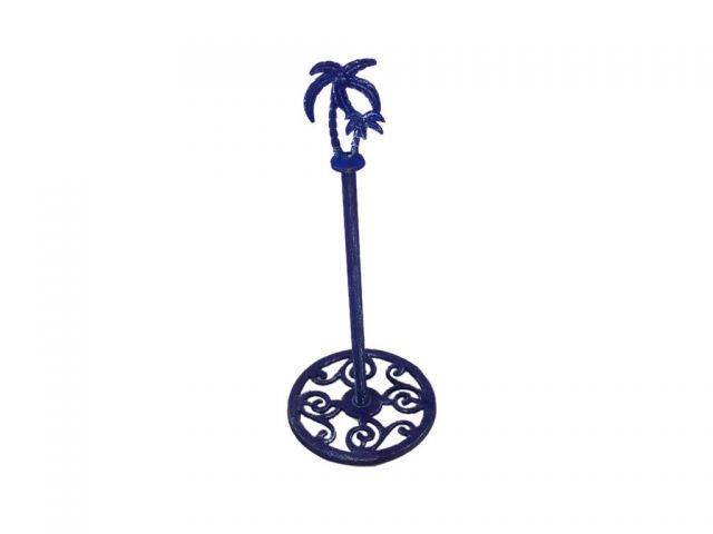 Rustic Dark Blue Cast Iron Palm Tree Extra Toilet Paper Stand 17
