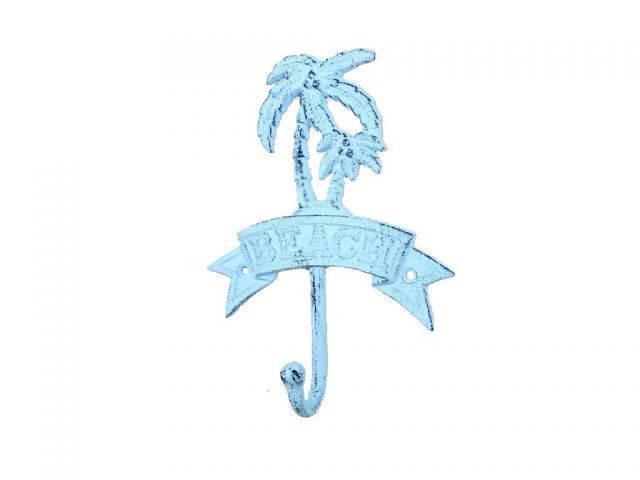 Rustic Dark Blue Whitewashed Cast Iron Palm Tree Beach Hook 8