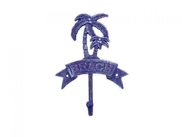 Rustic Dark Blue Cast Iron Palm Tree Beach Hook 8