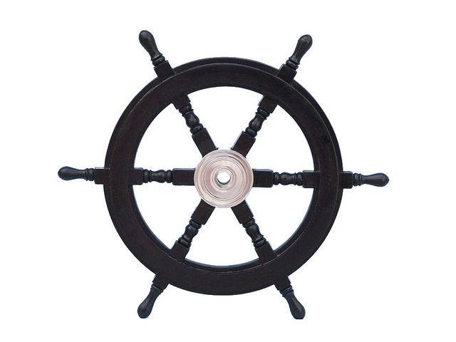 Deluxe Class Wood and Chrome Decorative Pirate Ship Steering Wheel 24