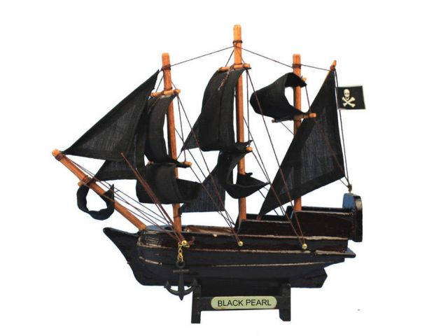 Wooden Black Pearl Pirates of the Caribbean Model Pirate Ship Christmas Ornament 7