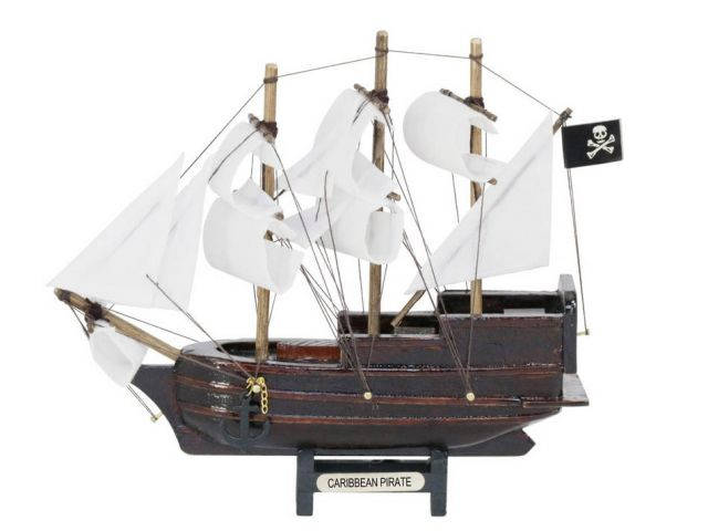 Wooden Caribbean Pirate White Sails Model Pirate Ship 7