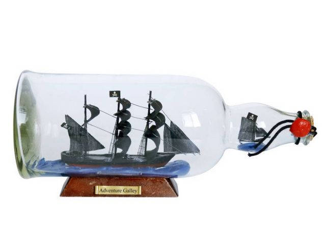 Captain Kidds Adventure Galley Model Ship in a Glass Bottle 11